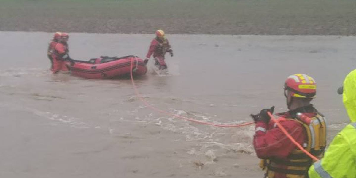 Water rescue of stranded persons in Jackson, MO