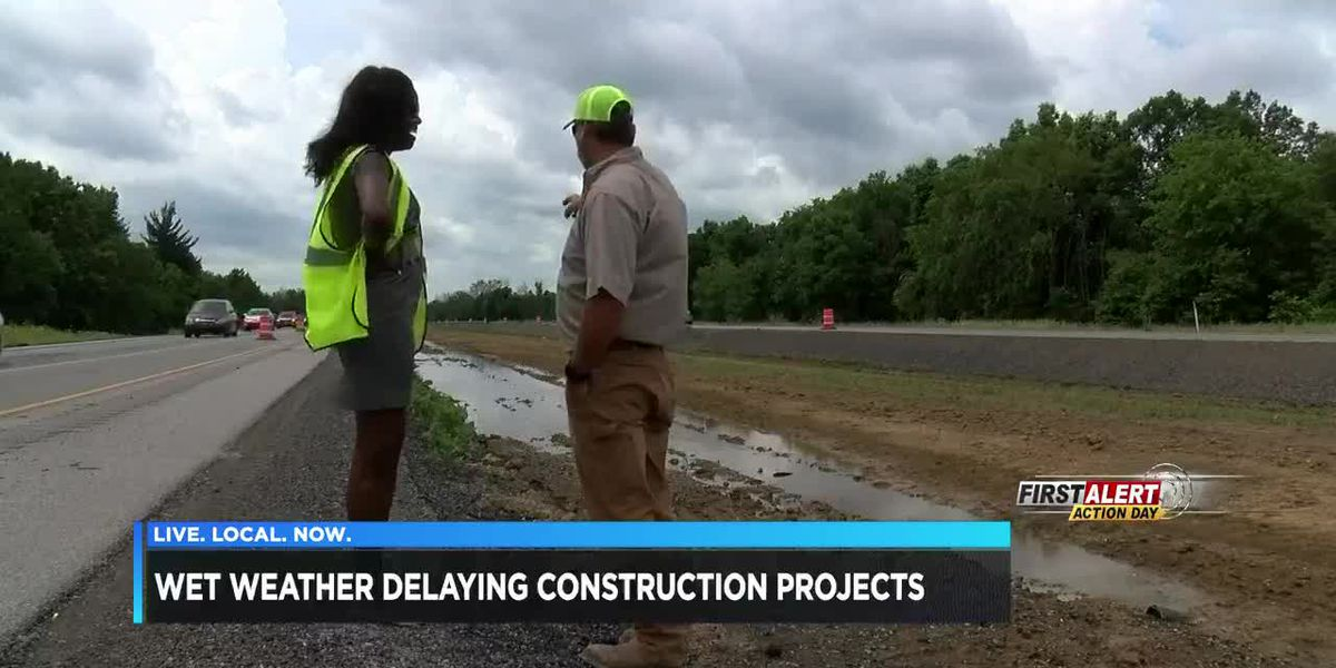 Wet weather delaying construction projects