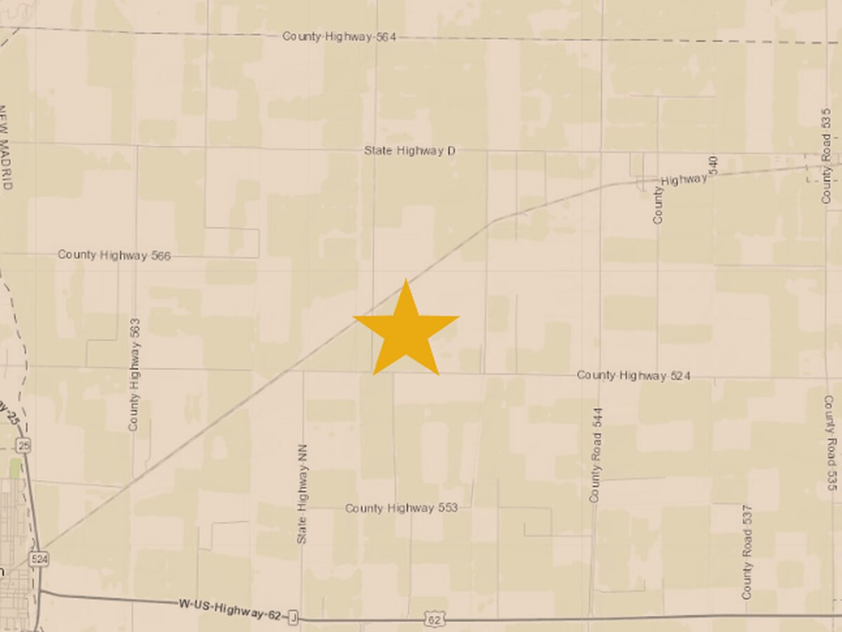 2.5 magnitude earthquake recorded in New Madrid Co., Mo.