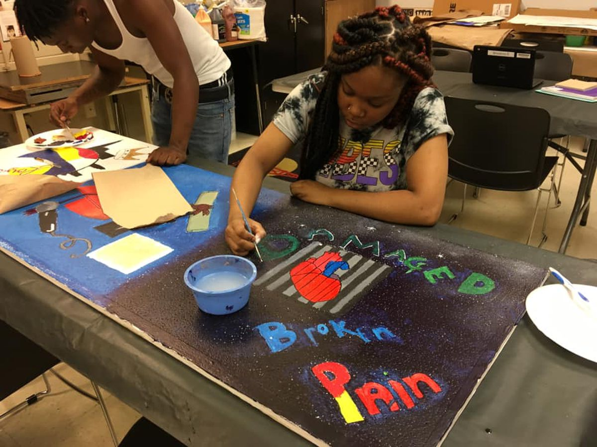 Central High School students design personal experiences on ceiling tiles