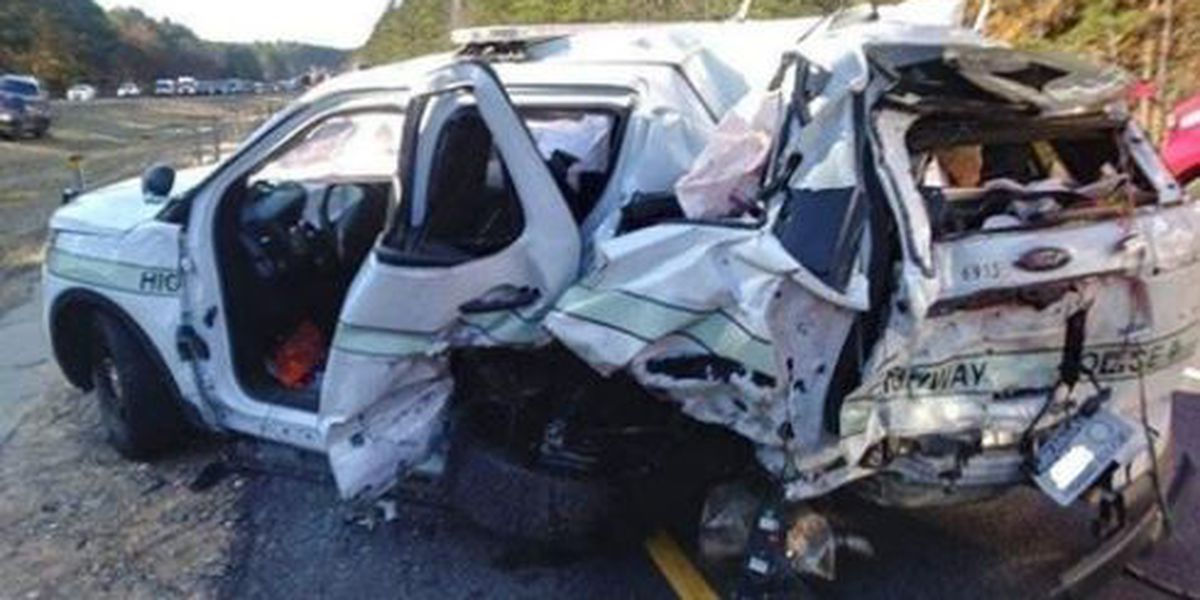 AR state police officer injured after his vehicle was rear-ended off of interstate