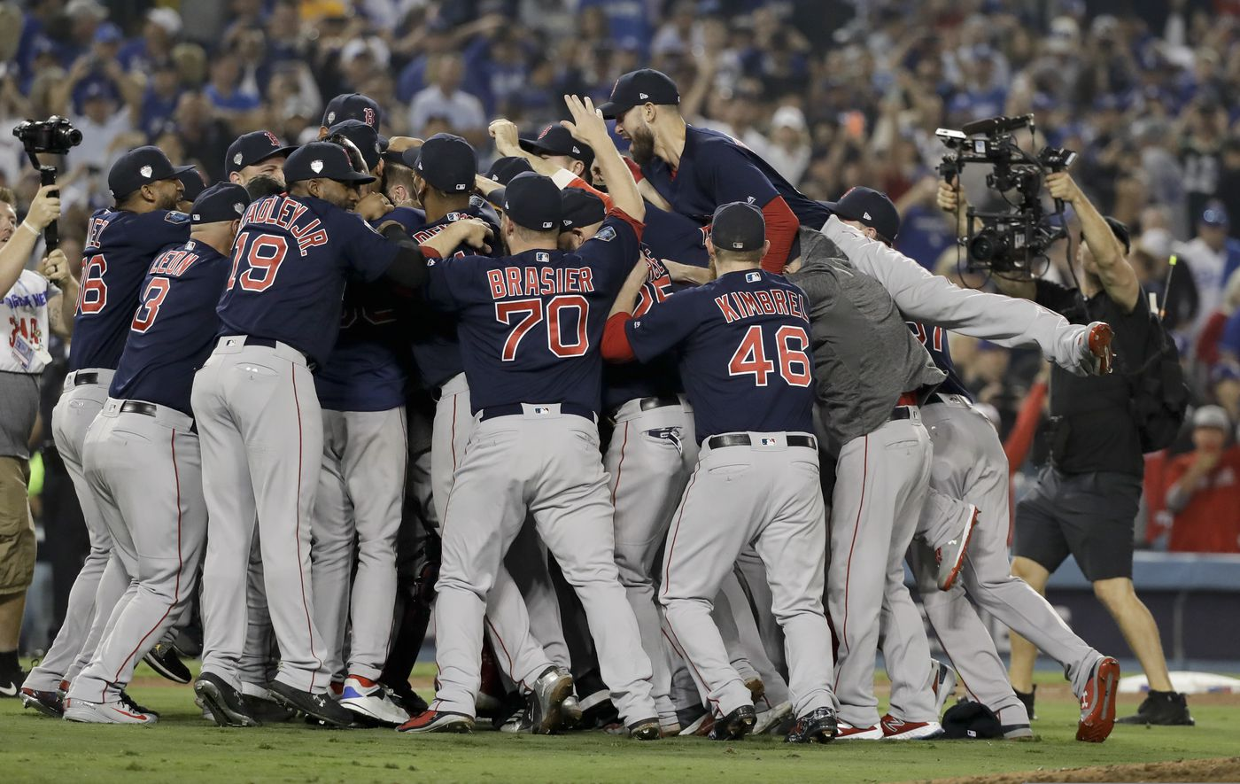 520cd0ea The Boston Red Sox celebrate after Game 5 of baseball's World Series  against the Los Angeles