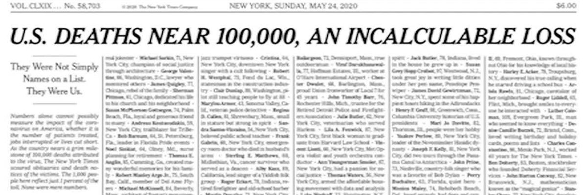 NY Times publishes names of lives lost to virus on front page (no sound)