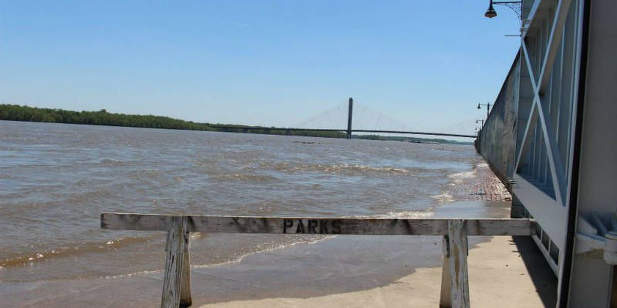 Broadway pedestrian gate open on Cape Girardeau floodwall