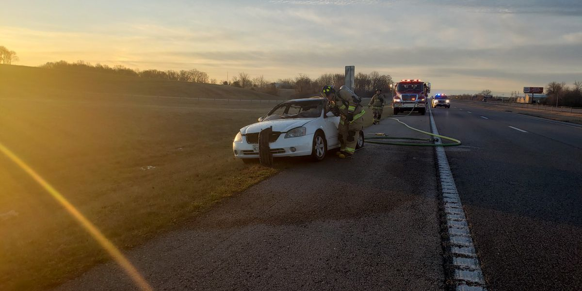 Driver taken to hospital after fiery 2-vehicle crash on I-55