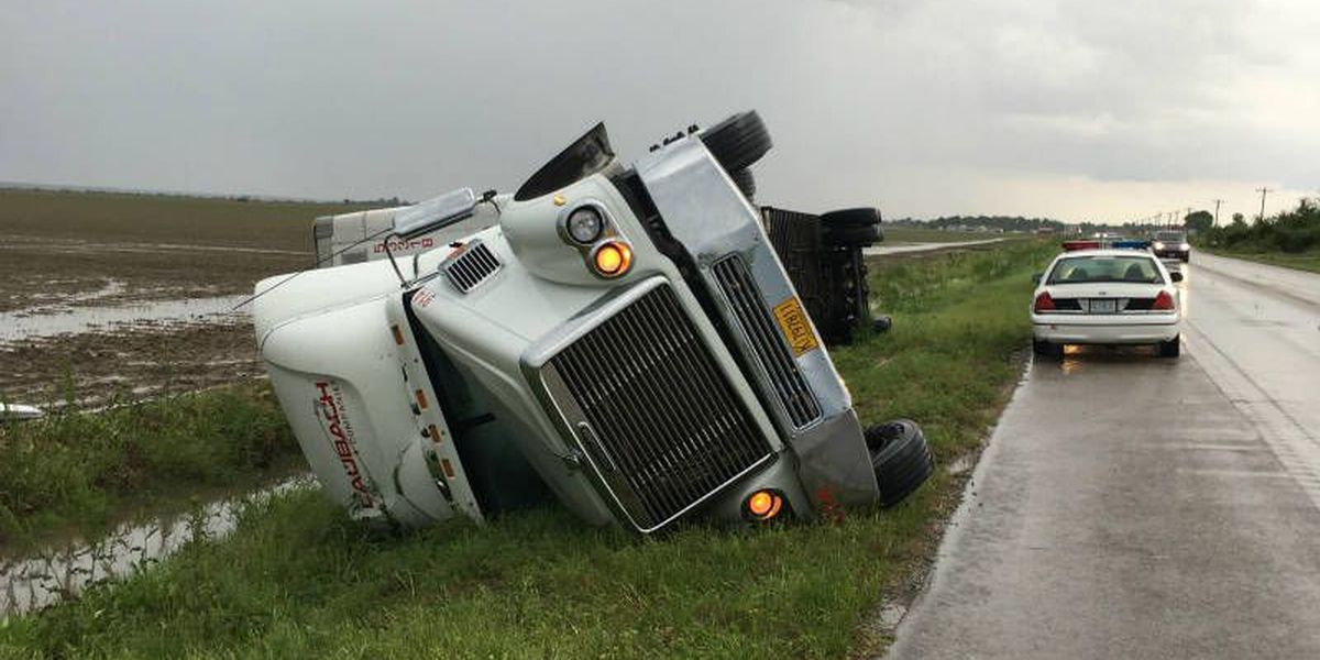 Semi truck overturns in ditch on Hwy. 67 near Poplar Bluff, MO
