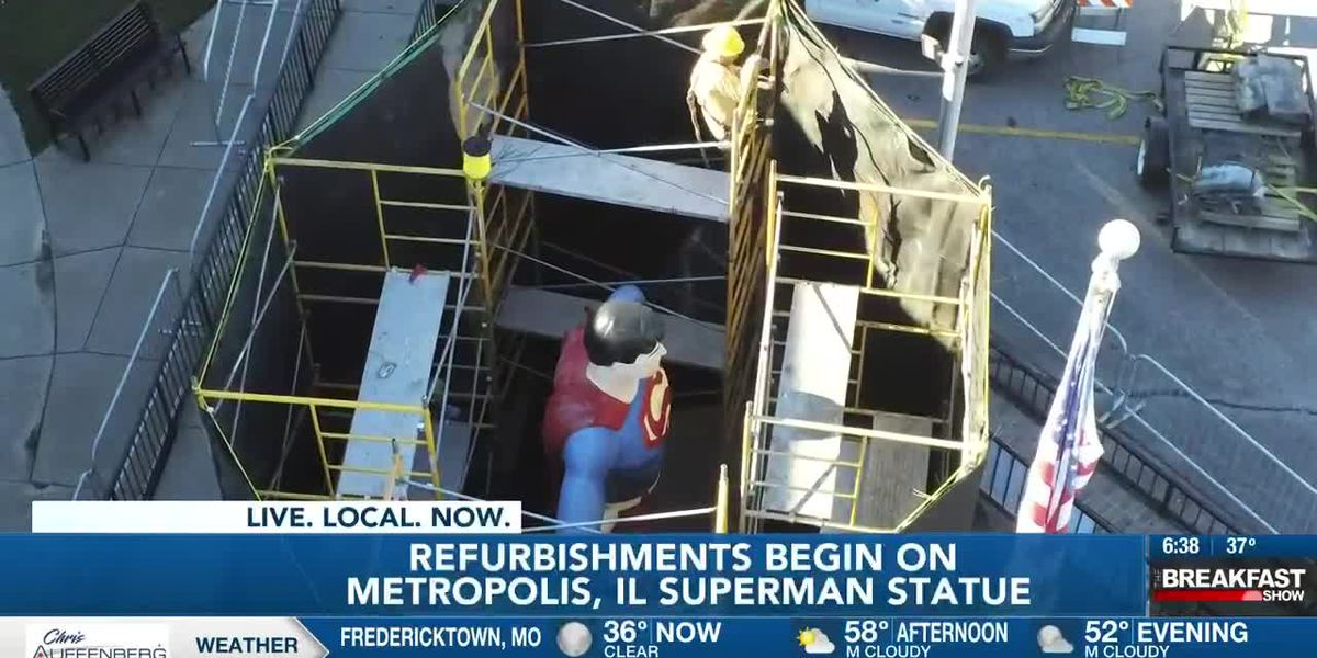 Superman statue renovations begin in Metropolis, Ill.