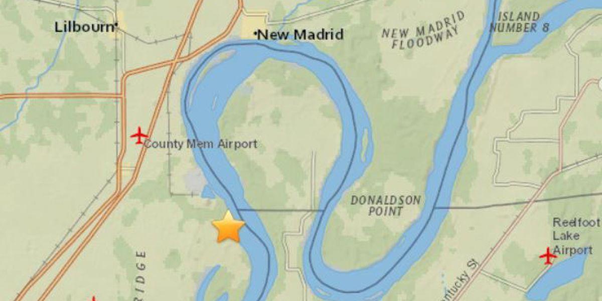 Small quake rattles near New Madrid