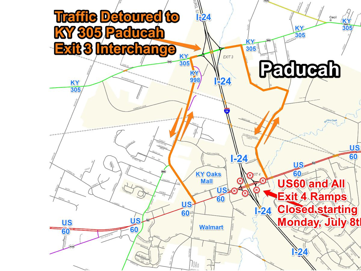 5 week closure of US 60, part of interchange project in Paducah