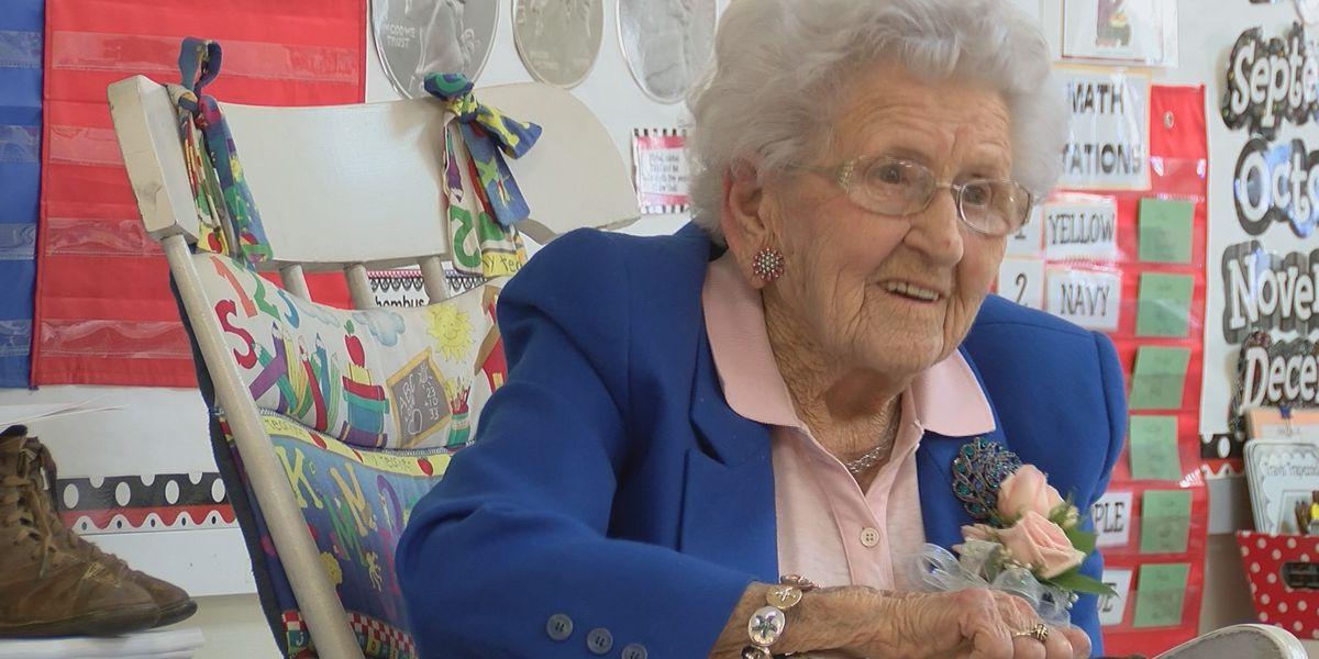 Century-old woman speaks on hundredth day of school