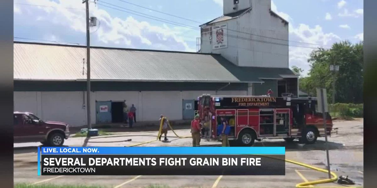 Crews battle grain elevator fire in Fredericktown, MO