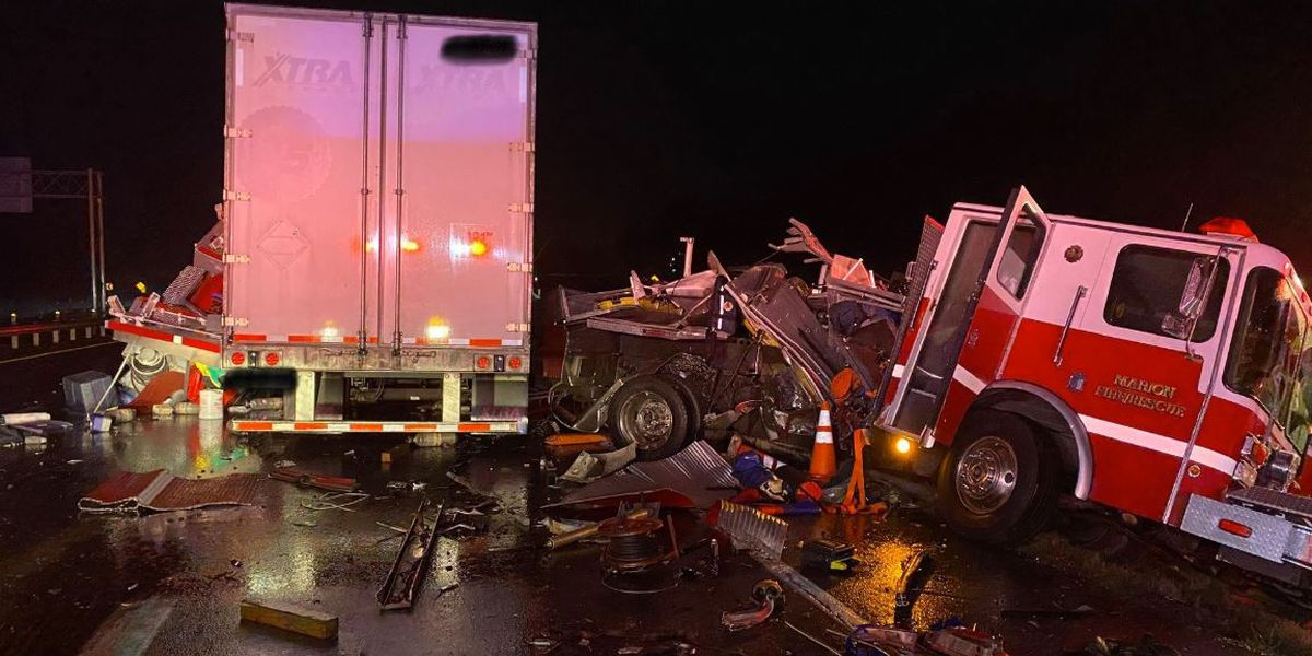 Crew 'very fortunate' after semi slams into rescue truck