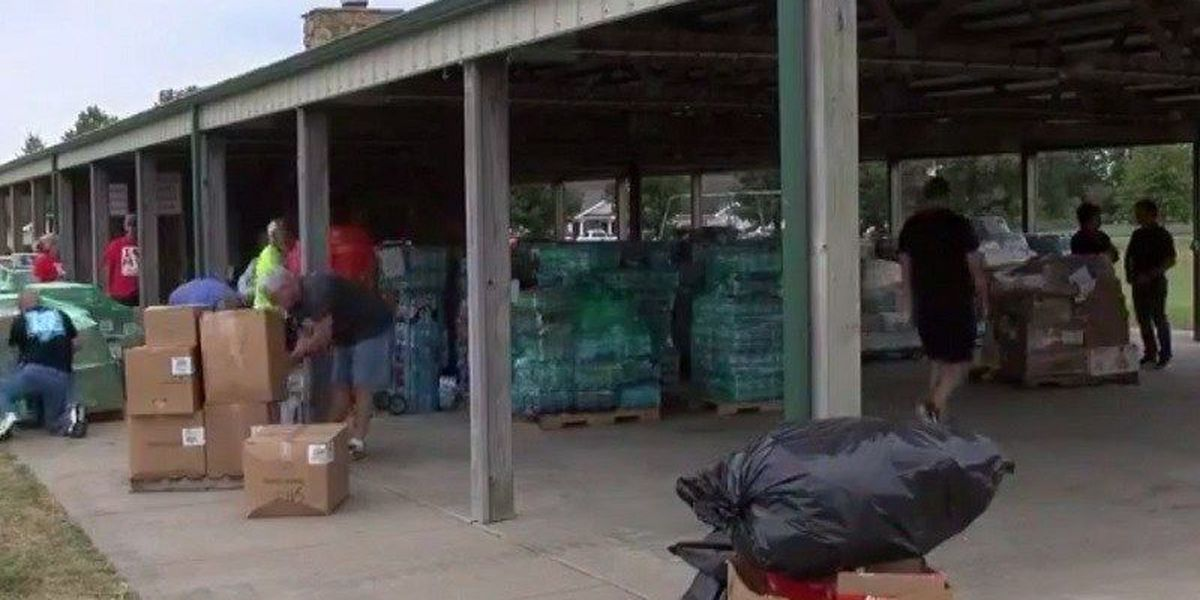 Volunteers in Herrin, IL collect donations for Harvey victims