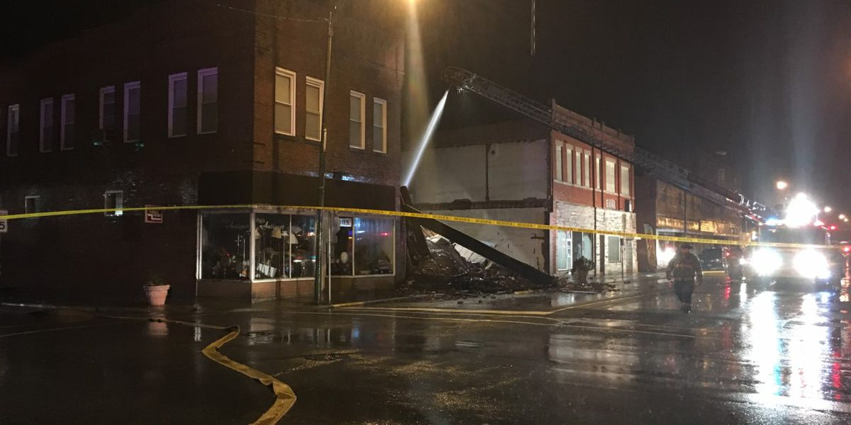 1 building collapsed, another damaged in fire in Christopher, IL