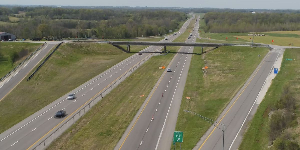Northbound I-55 down to 1 lane between Cape Girardeau, Perry Counties for road work