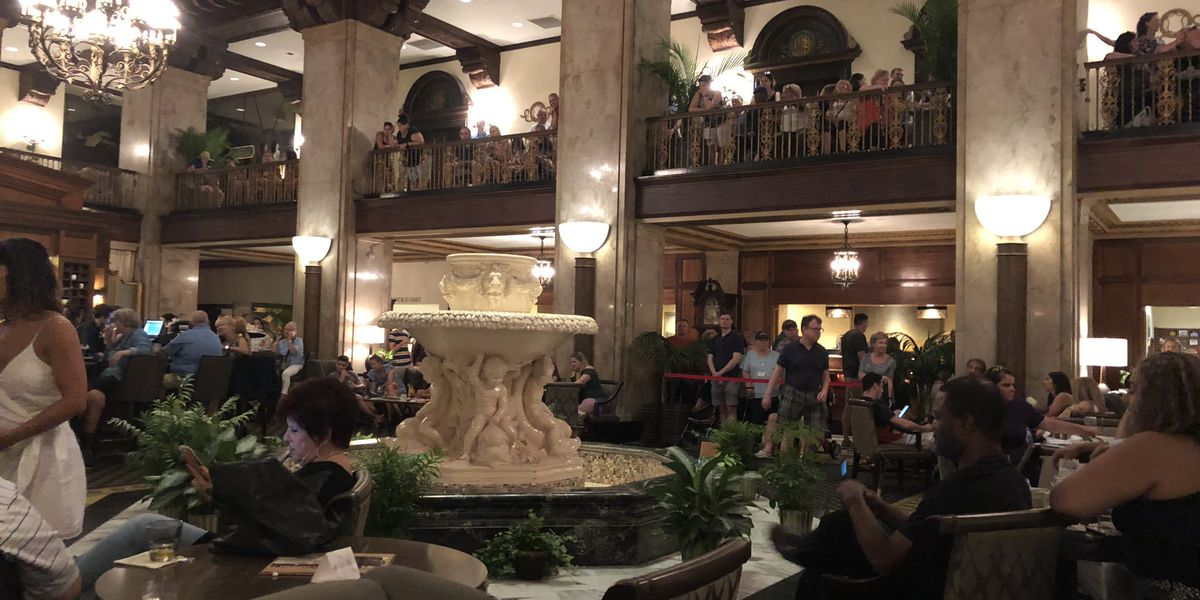 Peabody Hotel fountain in need of repair, what will the ducks do?