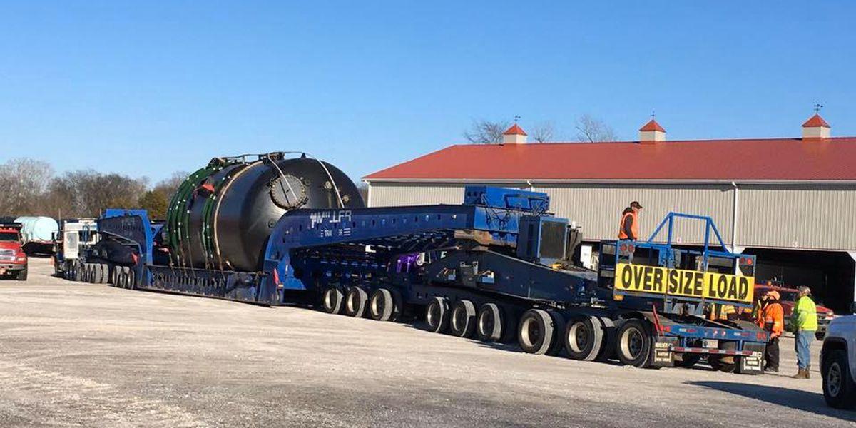 Slow-moving 'superload' to resume travel through western Kentucky Wednesday