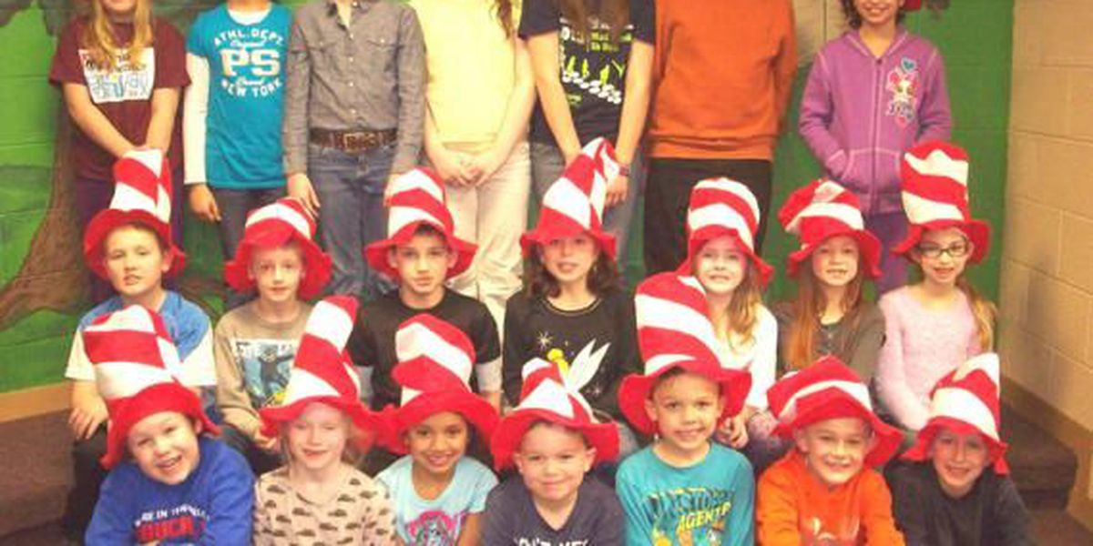 Graves Co. Accelerated Readers receive Dr. Seuss hats