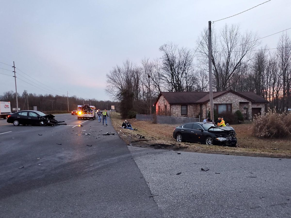 Head-on crash sends 2 to hospital