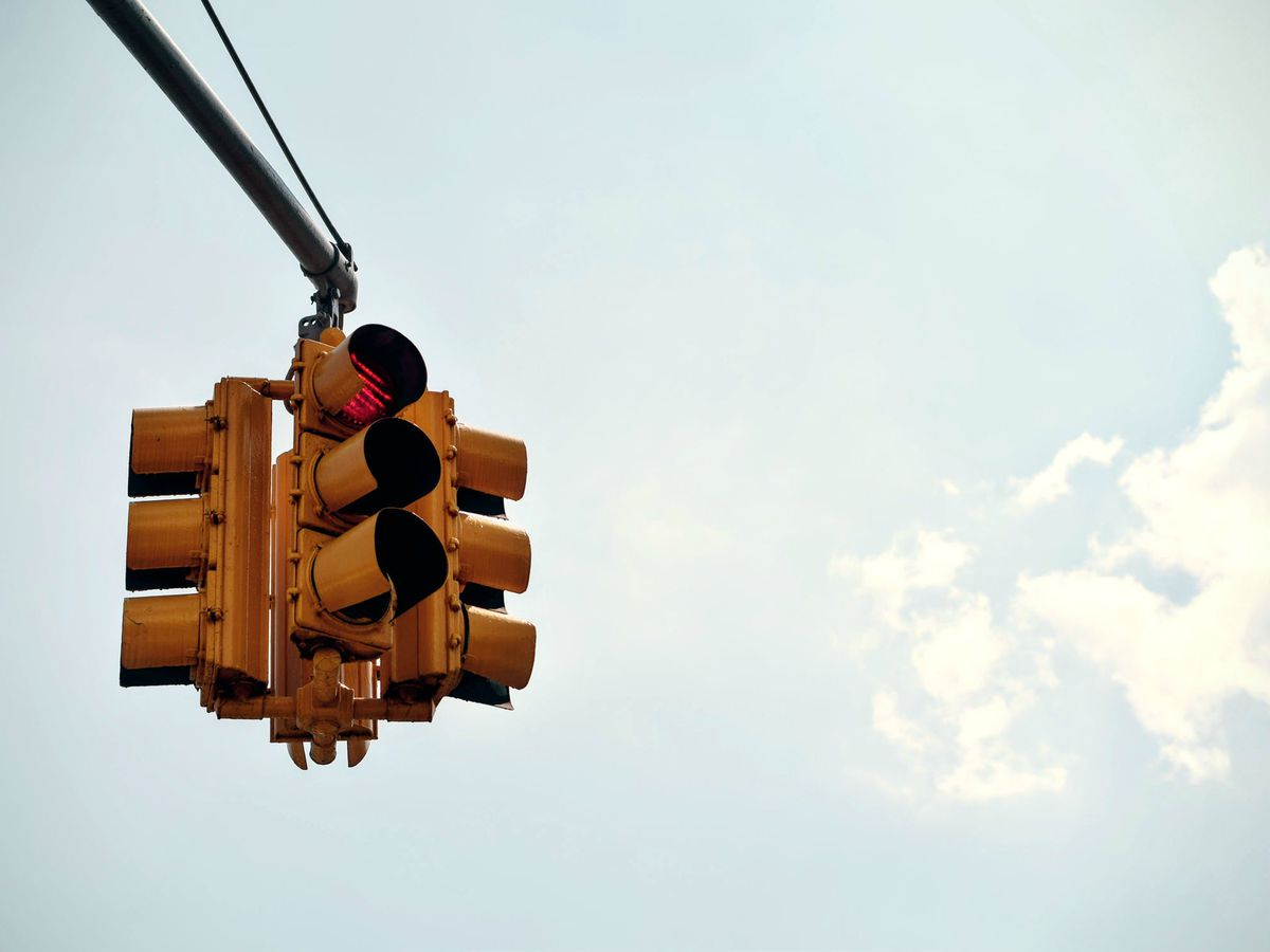 Traffic light in Jackson damaged