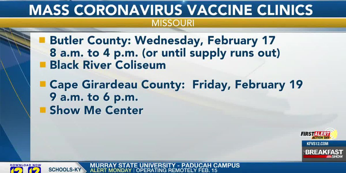Mass COVID-19 vaccine clinics to be held in Cape Girardeau, Butler Counties