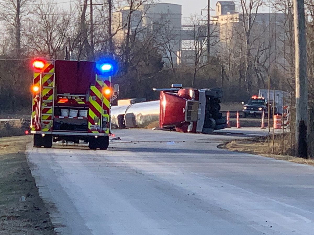 Tanker truck filled with diesel fuel overturns, hazmat crews on scene in Cape Girardeau