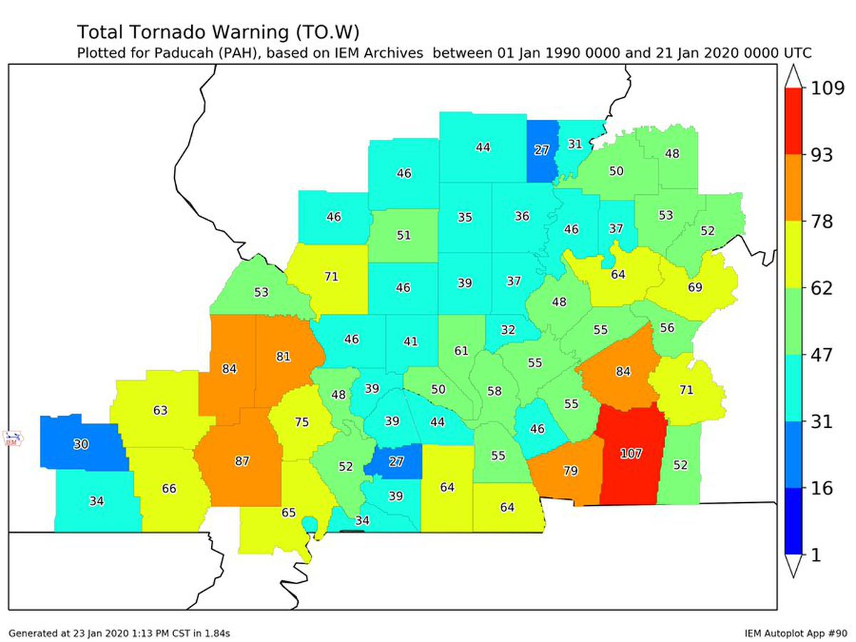 NWS Paducah: Stoddard County, Mo. #2 for most tornado warnings in region since 1990