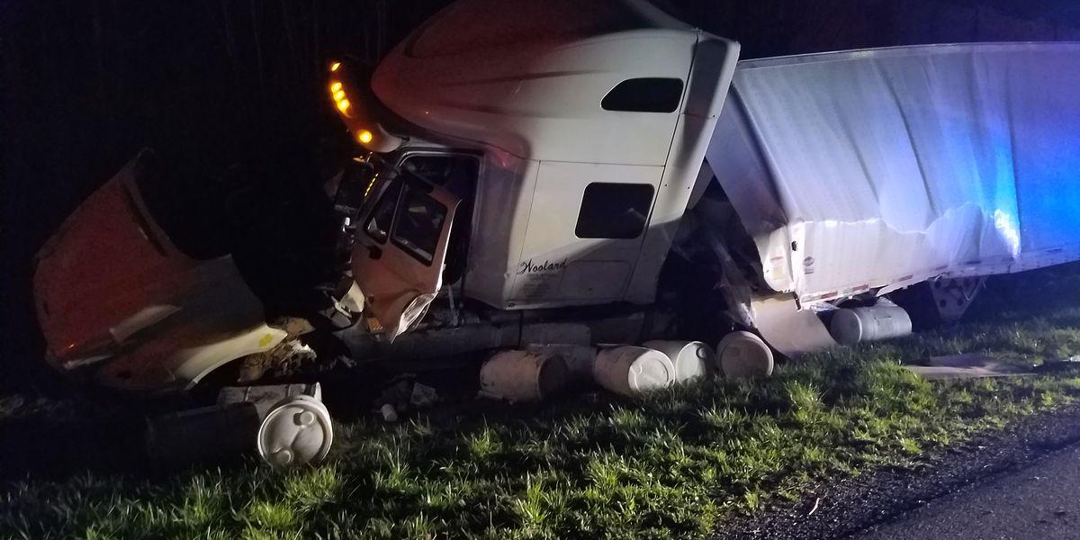 All I-24 lanes open; crash site cleared of semi, herbicide barrels