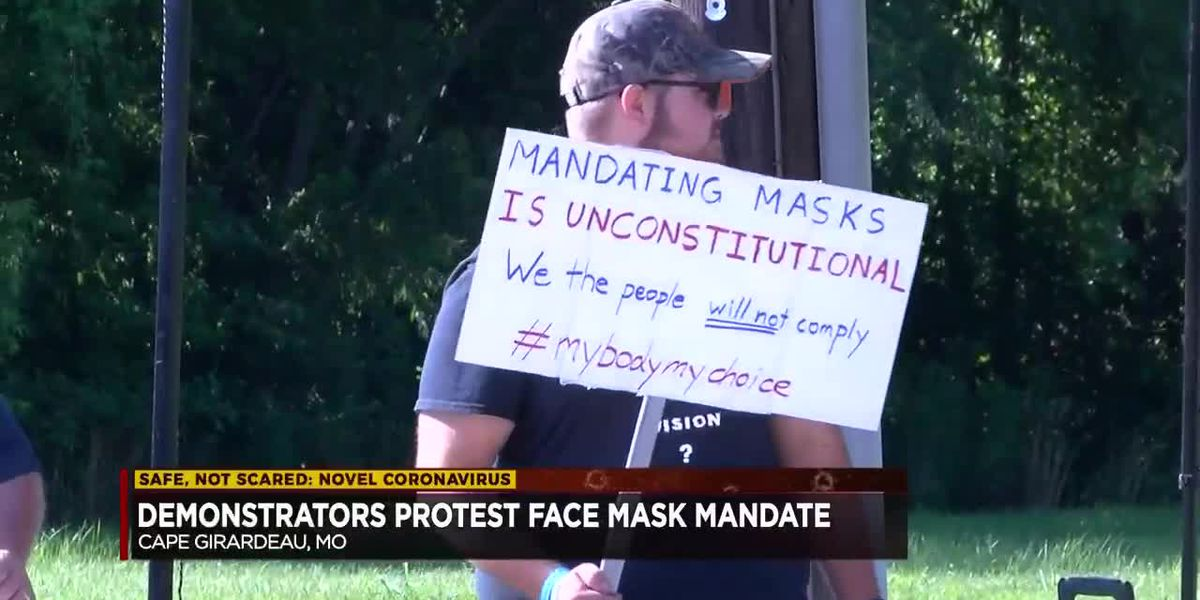 Demonstrators at Cape Girardeau health center protest emergency face covering order