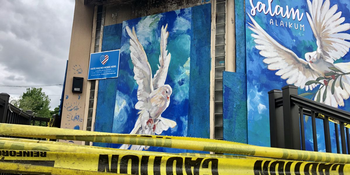 Murals symbolizing peace transform damage after fire at Islamic Center