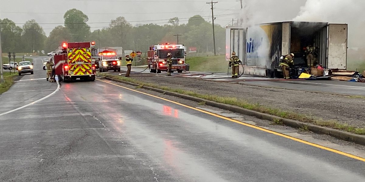 KY 293 clear after SEMI hauling furniture caught fire in Lyon County