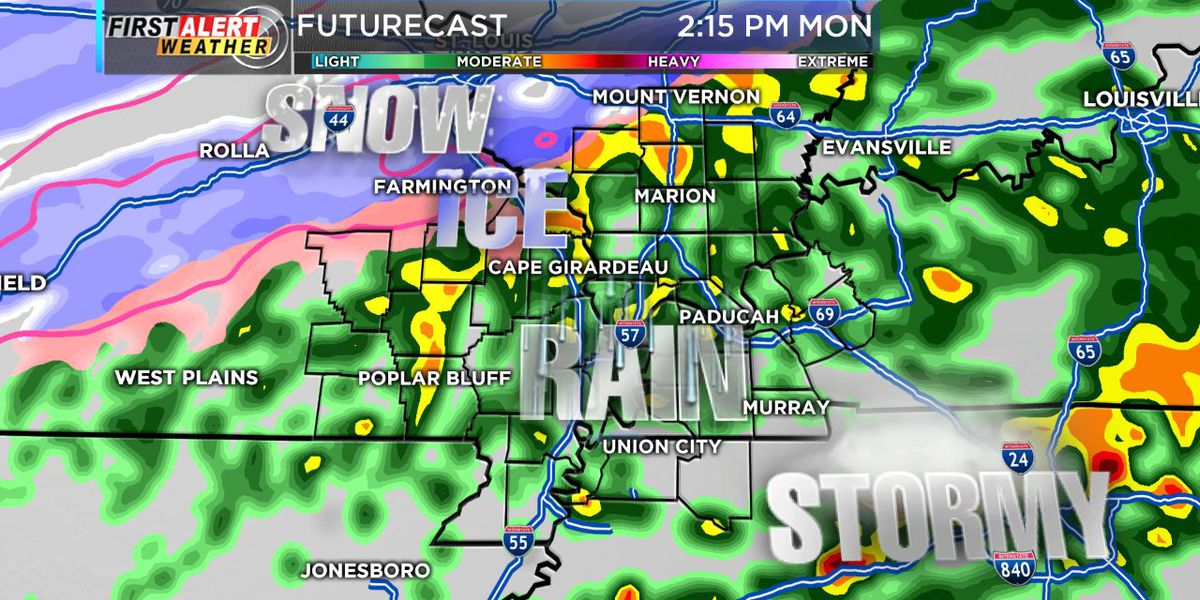 First Alert: Ice to the north, thunderstorms to the south.