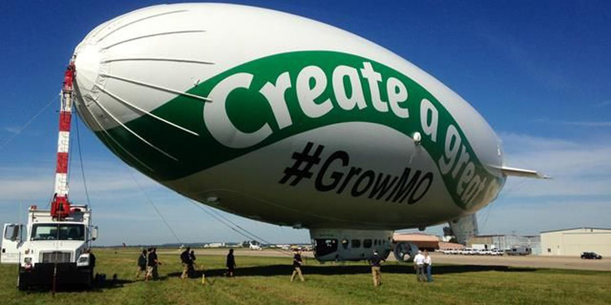 Blimp seen in the skies promoting the state of Missouri