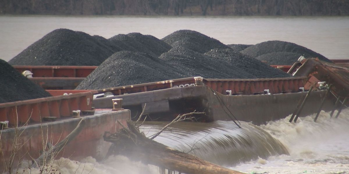 Six barges carrying coal have sunk into the Ohio River