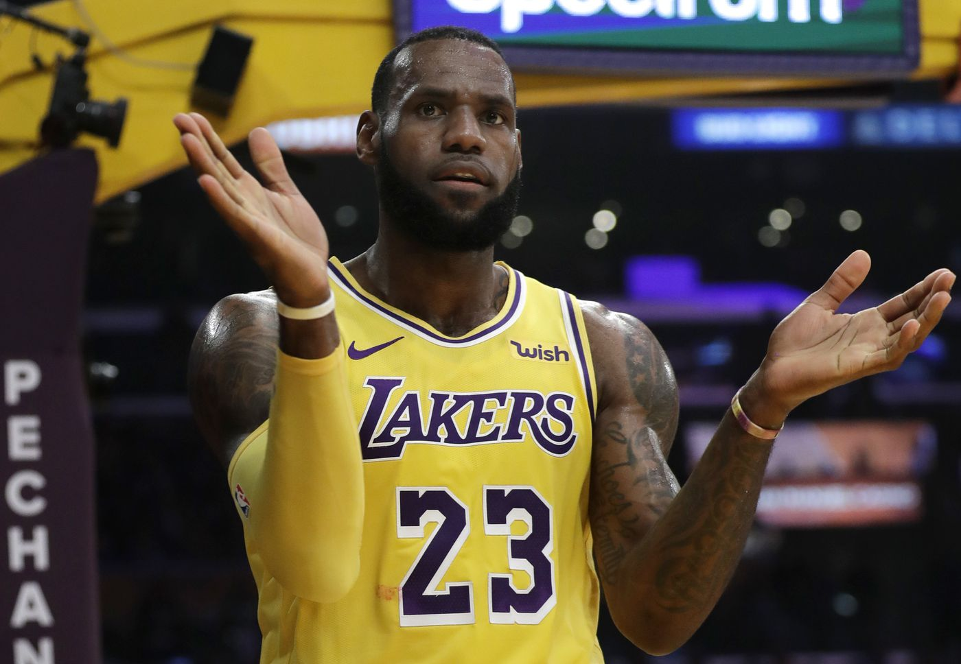 8d154089eac1 Los Angeles Lakers  LeBron James (23) claps after scoring against the Miami  Heat