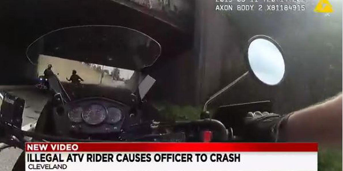 Bodycam footage showing masked ATV rider knocking officer off motorcycle