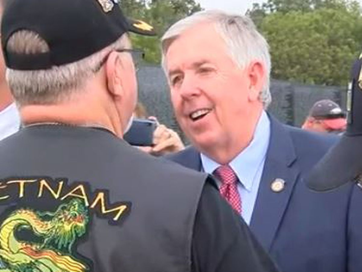 Gov. Parson speaks at Missouri Vietnam Wall Run in Perryville, Mo.