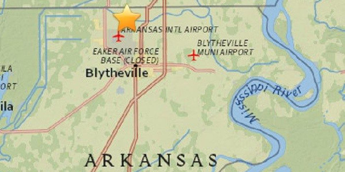 M2.2 earthquake recorded north of Blytheville, AR