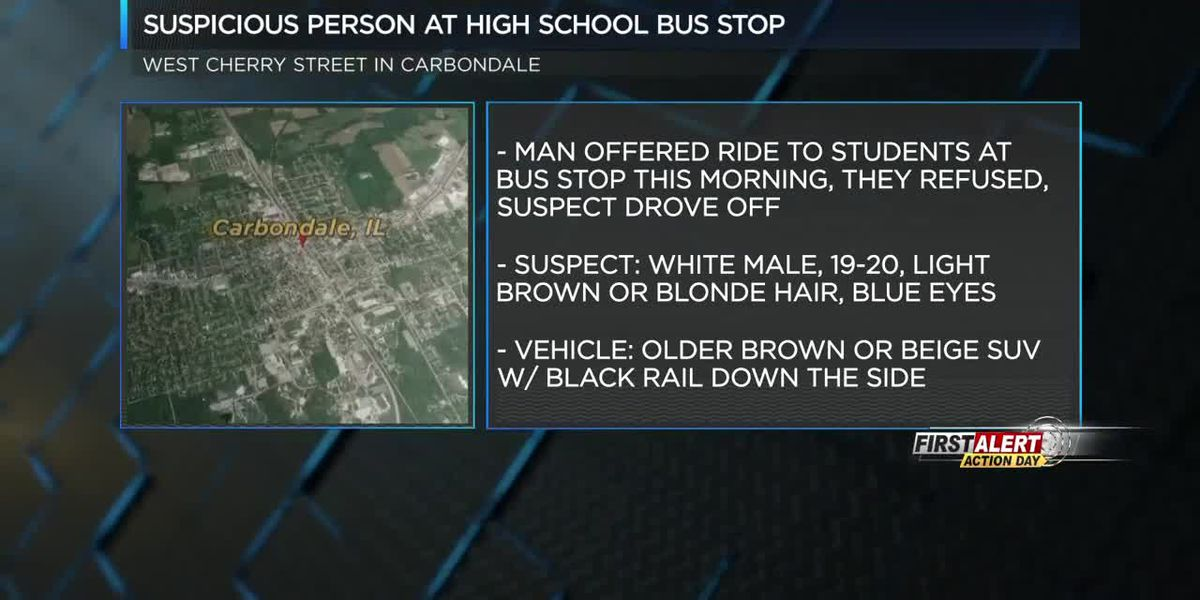 Man approaches high school students at bus stops in Carbondale