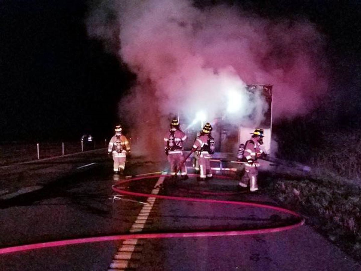 Semi hauling household appliances catches fire near Scott City, MO, no one injured