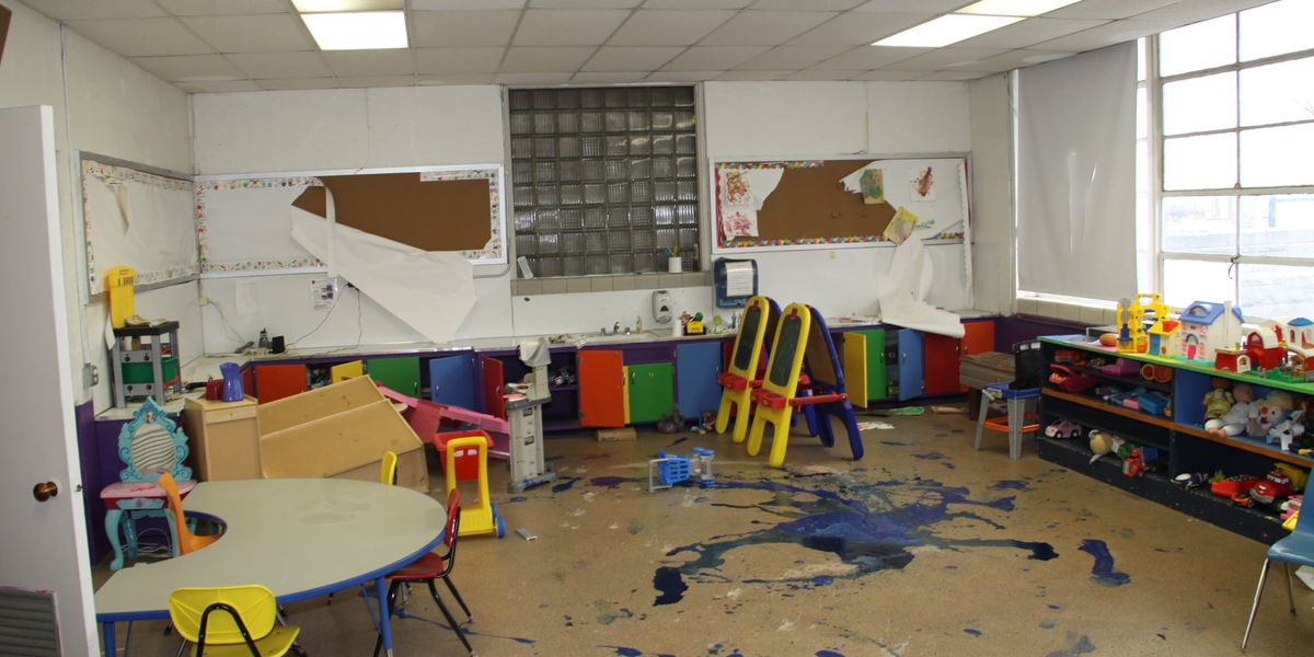 Extensive damage left behind after break in at Kingdom Kids in Mt. Vernon, Ill.