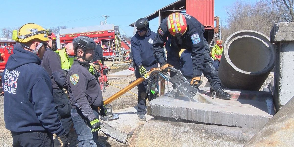 First responders train for a structural collapse in Jackson, MO