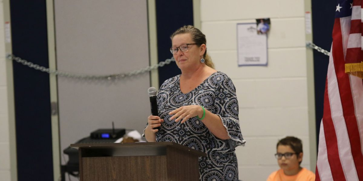 U.S. Air Force veteran Lisa Bratton speaks to Poplar Bluff Elementary students