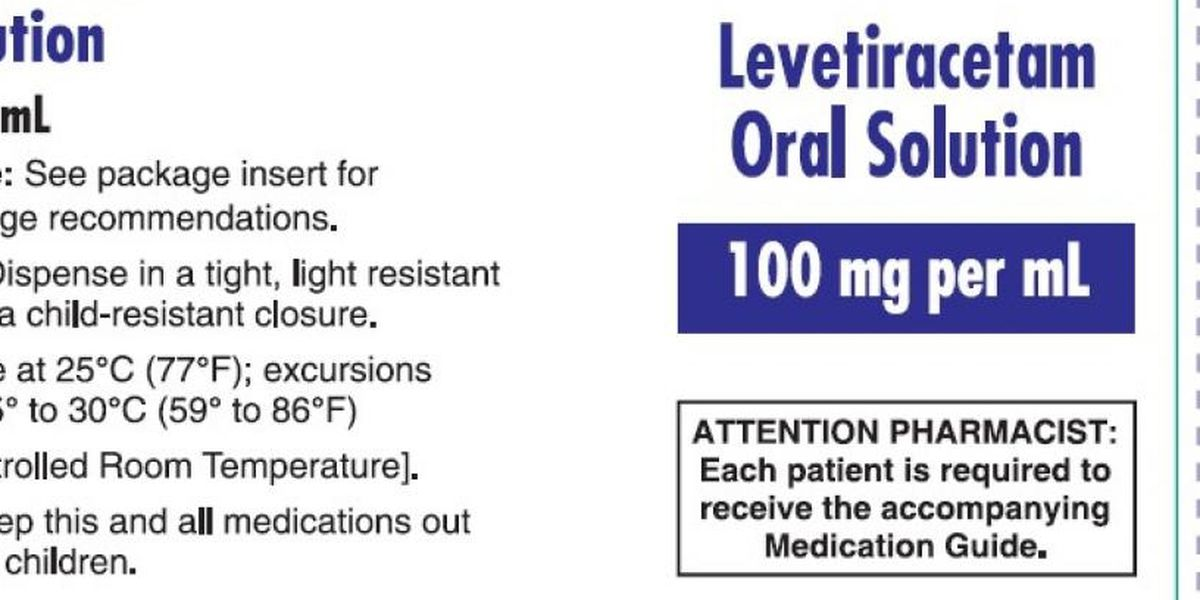 Company issues voluntary recall of Levetiracetam Oral Solution 100mg/mL