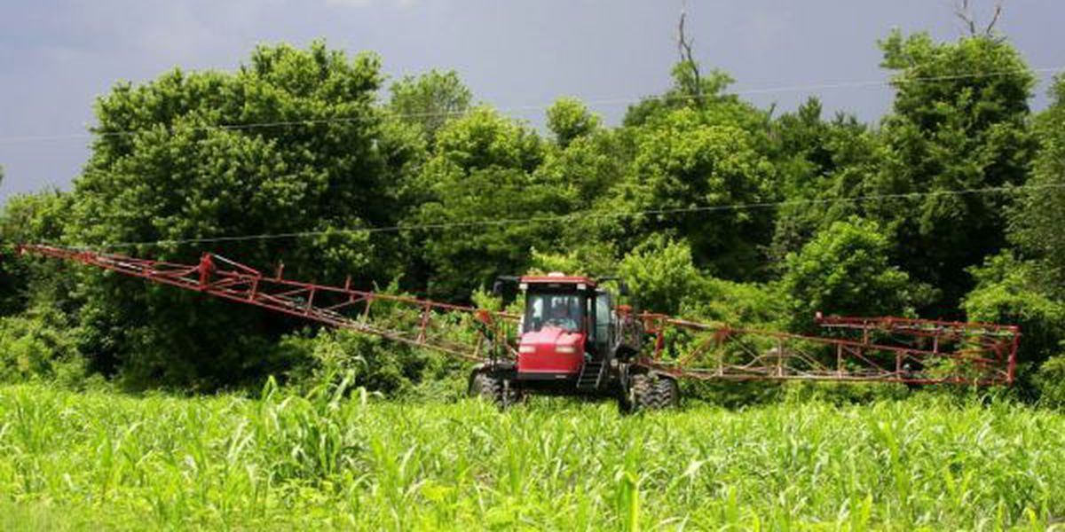 Spray rig caught in live power lines in Fulton County, KY