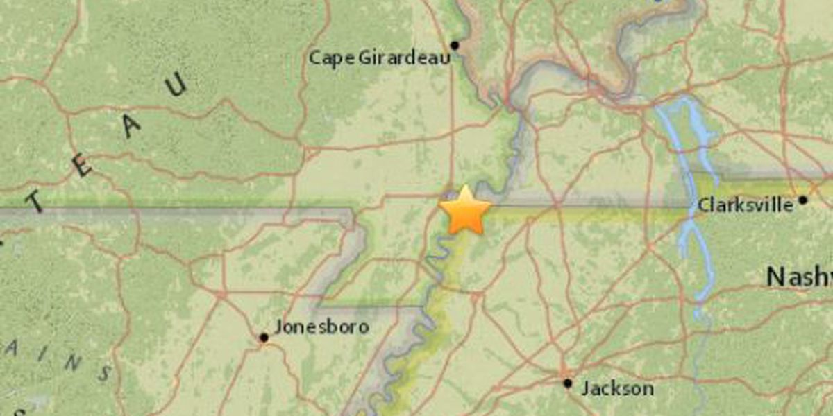 Earthquake in NW Tennessee