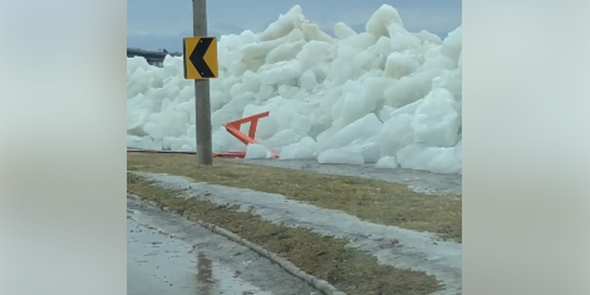 Wind gusts were strong enough to blow large ice chunks ashore near Lake Erie (video)