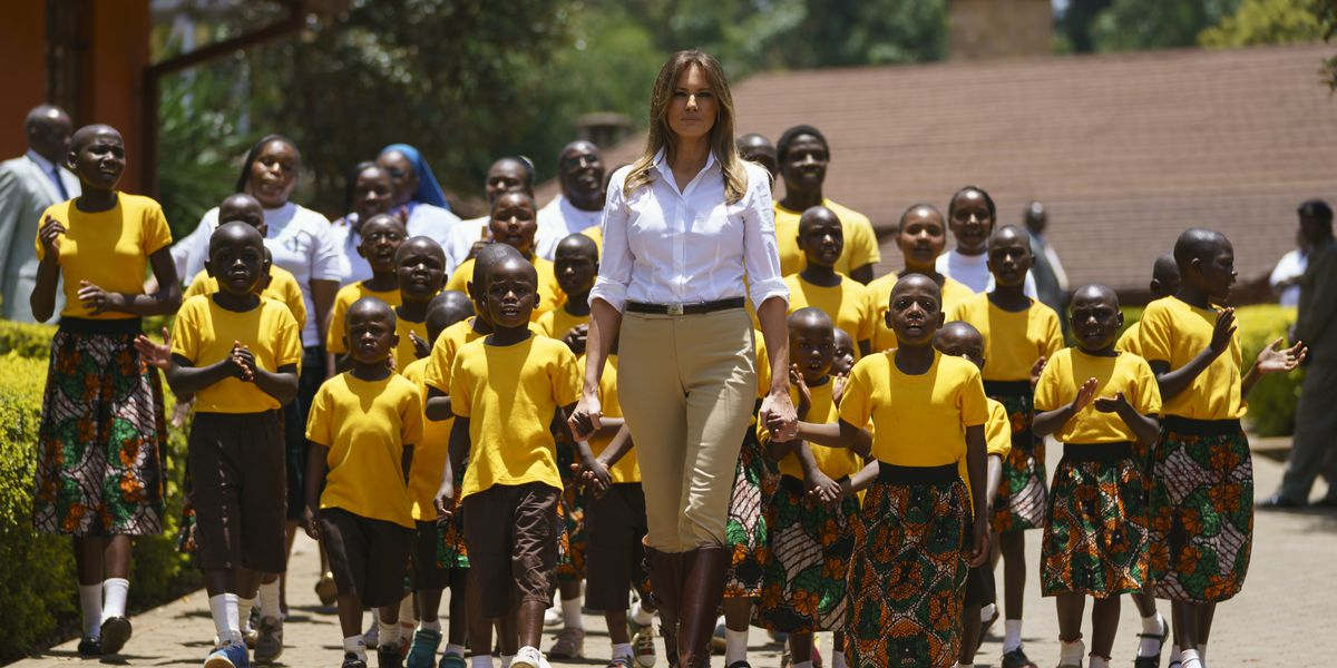 Melania Trump loses footing with elephant but not with kids