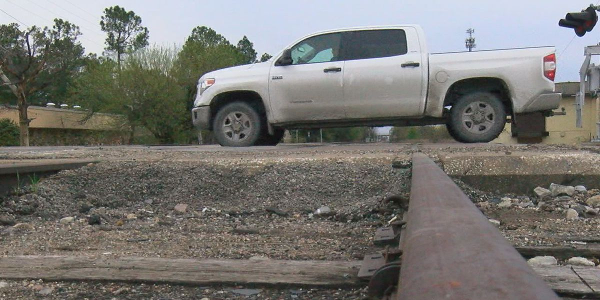 Police warn drivers about collapsed railroad crossing