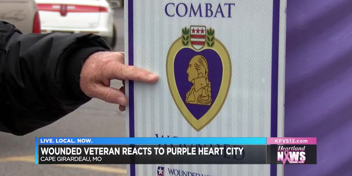 Wounded veteran reacts to Purple Heart City